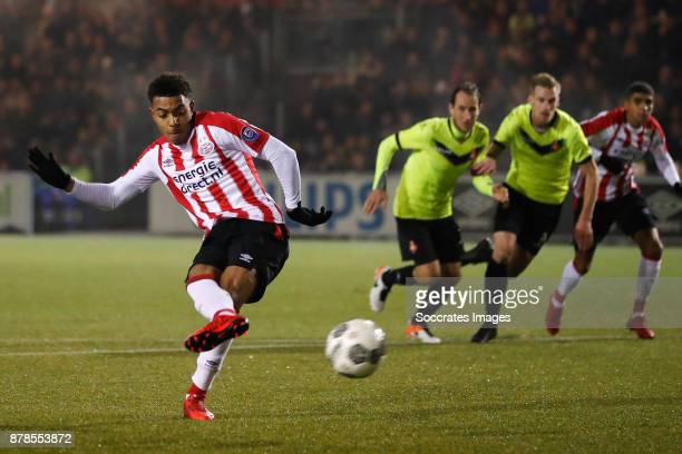 Donyell Malen of PSV U23 scores the third goal to make it 30 during the Dutch Eredivisie match between PSV U23 v Telstar at the De Herdgang on...