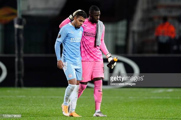 Donyell Malen of PSV, Yvon Mvogo of PSV disappointed during the UEFA Europa League match between PAOK Saloniki v PSV at the Toumba Stadium on...