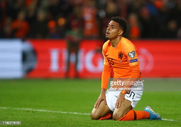 Donyell Malen of the Netherlands reacts to a missed chance on goal during the UEFA Euro 2020 qualifier between Netherlands and Northern Ireland at...