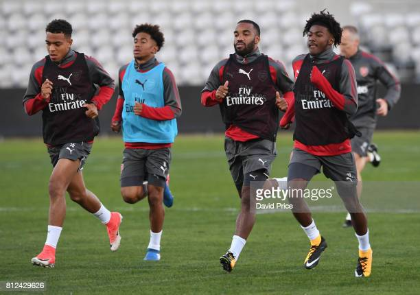 Donyell Malen Reiss Nelson Alexandre Lacazette and Ainsley MaitlandNiles of Arsenal during the Arsenal Training Session at Koragah Oval on July 11...