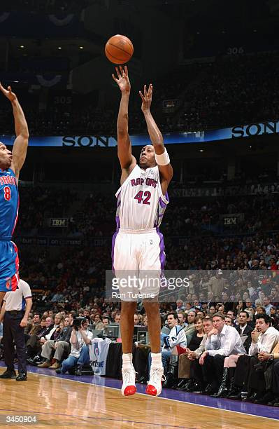 Donyell Marshall of the Toronto Raptors shoots a jumper during the game against the Detroit Pistons at the Air Canada Centre on April 13 2004 in...