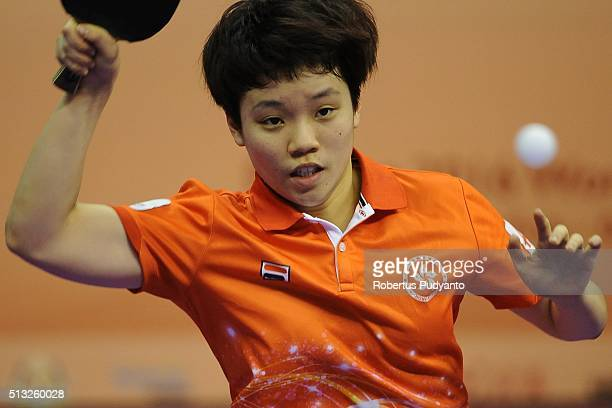 Doo Hoi Kem of Hong Kong competes against Seo Hyowon of Korea Republic during the 2016 World Table Tennis Championship Women's Team Division Round 5...