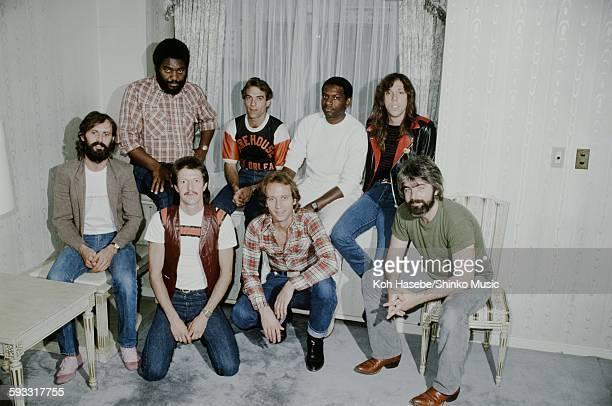 Doobie Brothers group shot at a hotel, Tokyo, October 1981.