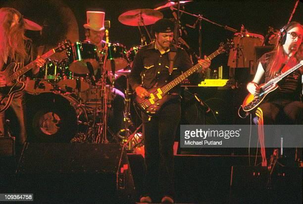 Doobie Brothers perform on stage at the Palladium New York 16th November 1978 LR Patrick SimmonsJohn HartmanTiran PorterJeff Skunk Baxter