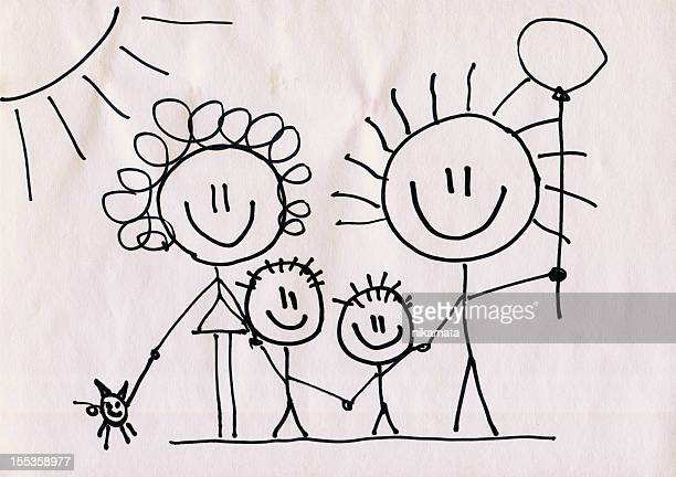 A doodle of a happy family on a piece of paper