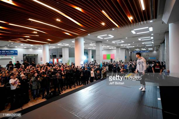 Dooho Choi of South Korea holds an open training session for fans and media during the UFC Fight Night Open Workouts at City Hall on December 18 2019...