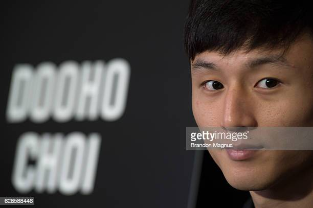 Dooho Choi speaks to the media during the UFC 206 Ultimate Media Day event inside the Westin Harbour Castle Hotel on December 8, 2016 in Toronto,...