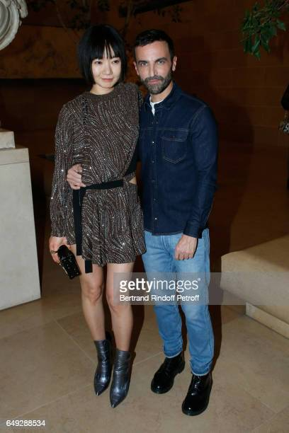 Doona Bae and Stylist Nicolas Ghesquiere pose after the Louis Vuitton show as part of the Paris Fashion Week Womenswear Fall/Winter 2017/2018 on...