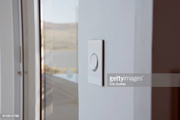 Door buzzer on modern glass doorway