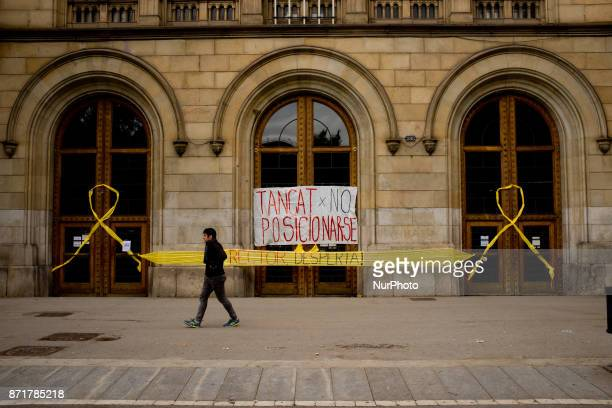 Door entrance of the Universtity of Barcelona Spain closed during the general strike on 8 November 2017 Catalonian territory went on general strike...