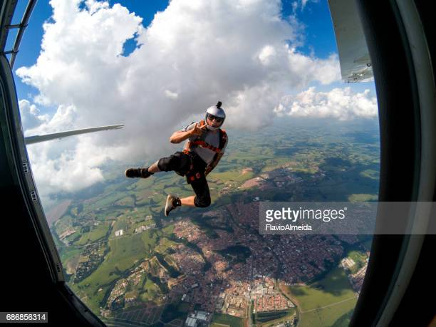 door frame skyjump - exhilaration stock pictures, royalty-free photos & images