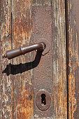 door handle an old wooden door