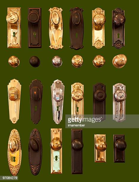 Door handles display collection isolated on dark green background