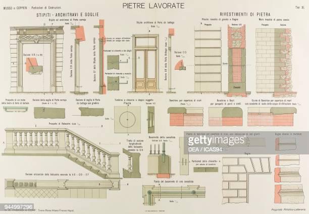 Door jams architraves doorways balustrade stone cladding chromolithograph from Particolari di costruzioni murali e finimenti di fabbricati Opere...