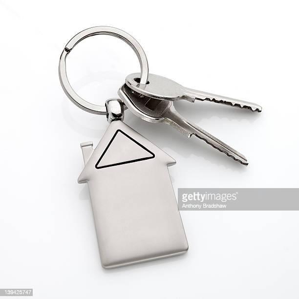 Door keys with a model house key fob