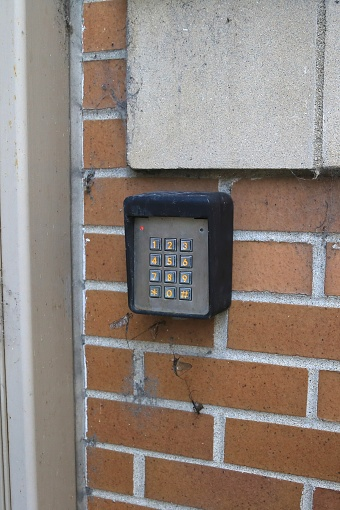 Door lock with combination keypad lock for entry - gettyimageskorea