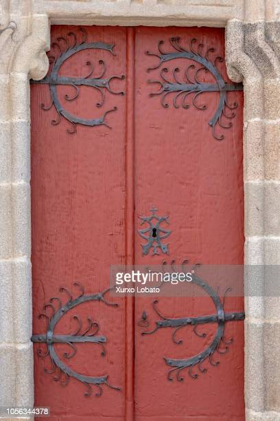 Door of church of San Salvador on October 12 2018 in Sarria Spain Sarria is a village from the province of Lugo part of the French route of...