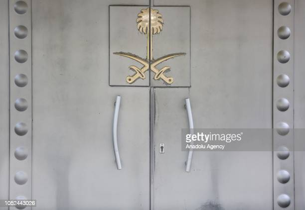 Door of Consulate General of Saudi Arabia is seen as the waiting continues on the disappearance of Prominent Saudi journalist Jamal Khashoggi in...