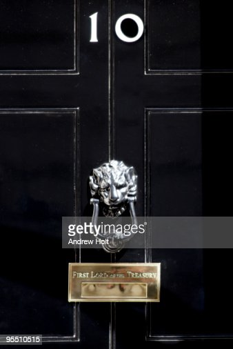 door of no 10 downing street stock photo