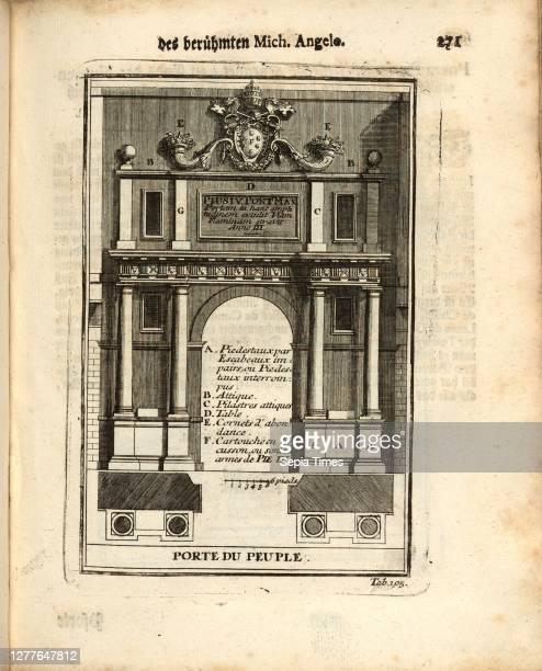 Door of the people, Porta del Popolo in Rome, tab. 105, p. 271, Augustin-Charles d'Aviler, Vignola, Michelangelo, Leonhard Christoph Sturm, Hertel:...