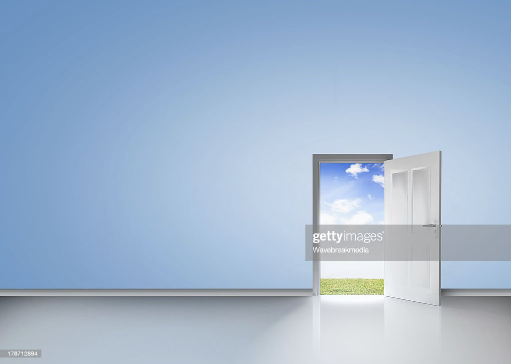 Door opening to reveal blue sky and meadow ... & Free open door Images Pictures and Royalty-Free Stock Photos ...