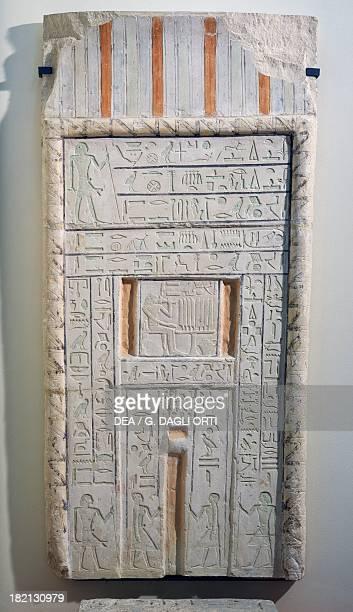 Door shaped stele painted limestone Egyptian civilisation Old Kingdom Dynasty VI Paris Musée Du Louvre