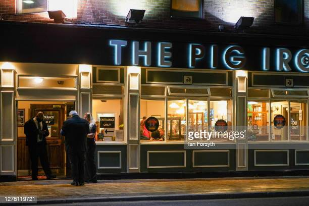 Door staff stand outside a pub in Middlesbrough town centre on October 02 2020 in Middlesbrough England The mayor of Middlesbrough Andy Preston is...