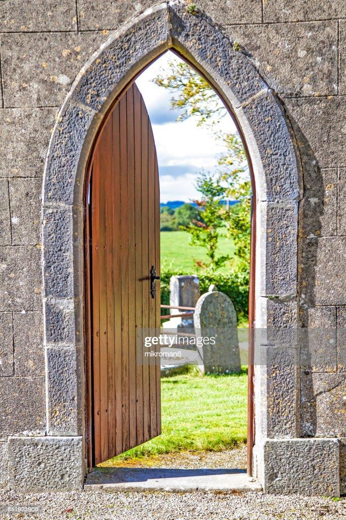 Door to old Celtic cemetery. : Stock Photo