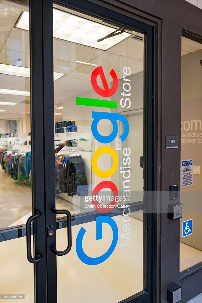 Door to the Google Merchandise Store at the Googleplex, headquarters of the search engine company Google in the Silicon Valley town of Mountain View, California, August 24, 2016. (Photo by Smith Collection/Gado/Getty Images).