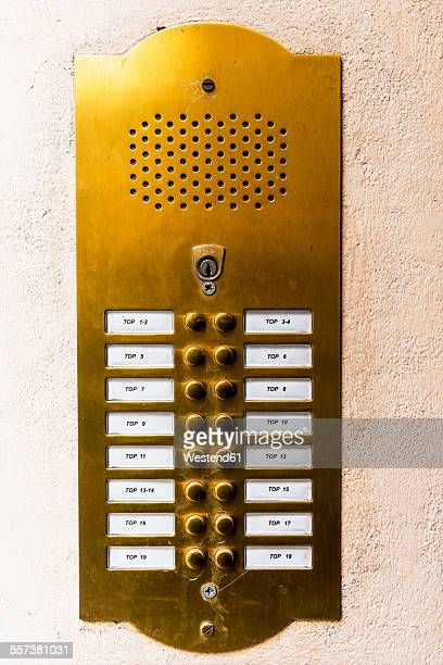 doorbell button panel and intercom - intercom stock pictures, royalty-free photos & images