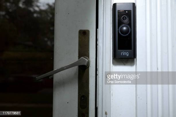 A doorbell device with a builtin camera made by home security company Ring is seen on August 28 2019 in Silver Spring Maryland These devices allow...