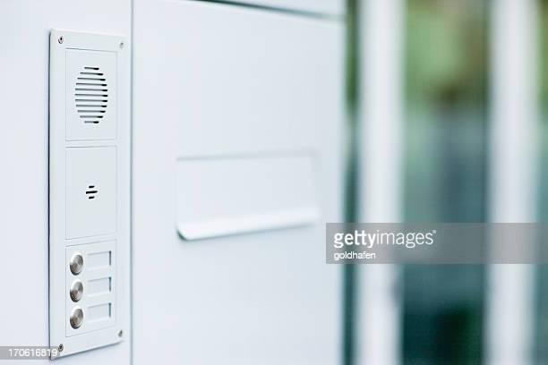 doorbell, mailbox and intercom - modern design, all white