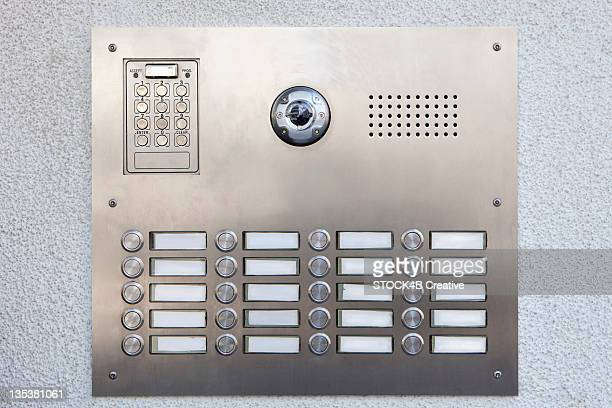 doorbell panel, munich, bavaria, germany - intercom stock pictures, royalty-free photos & images