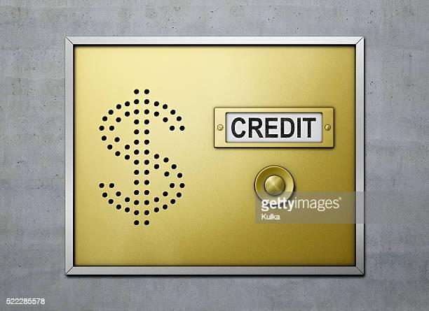 "doorbell with ""credit"" sign - türklingel stock-fotos und bilder"