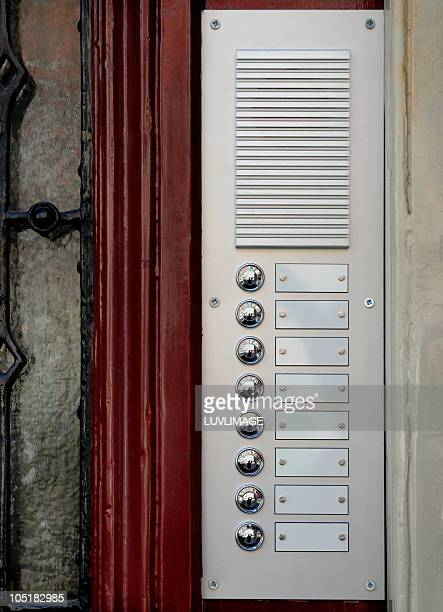 doorbells without names - intercom stock pictures, royalty-free photos & images