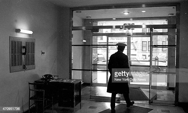 Doorman looks from lobby of W 72d St apartment house where teacher Roseann Quinn was murdered Richard Corkery/NY Daily News via Getty Images