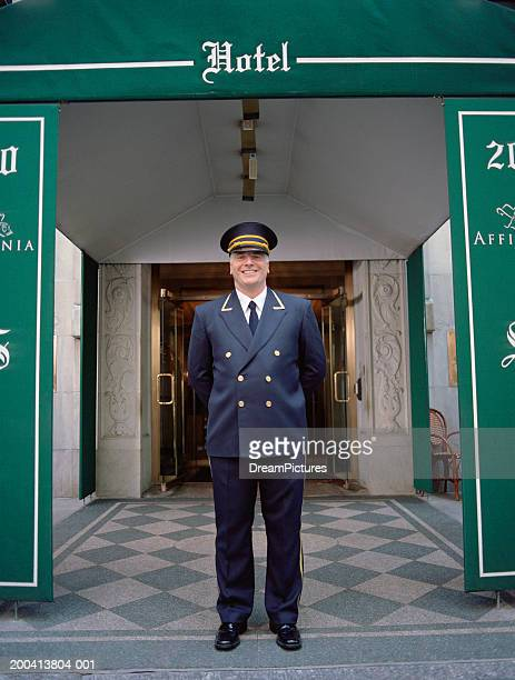 Doorman standing outside hotel