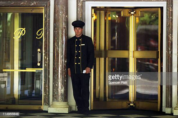 A doorman stands in front of the Pierre Hotel on May 31 2011 in New York City Mahmoud AbdelSalam Omar a 74 yearold former head of the Bank of...
