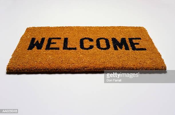Doormat with Word Welcome