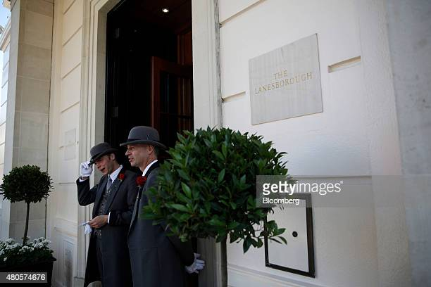 Doormen stand at the entrance to the Lanesborough luxury 5star hotel operated by the Oetker Group following renovation and refurbishment work in...