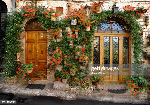 doors decorated with flowers, assisi, italy - umbria stock pictures, royalty-free photos & images