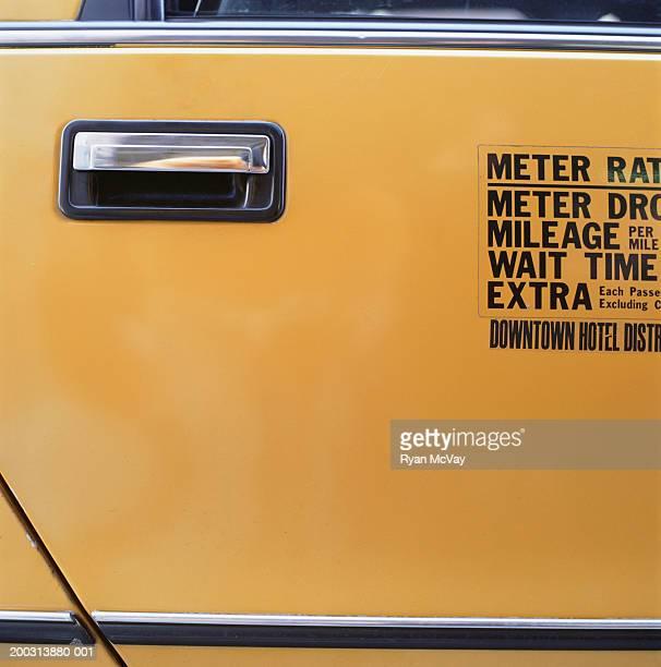 Doors of yellow cab, close-up