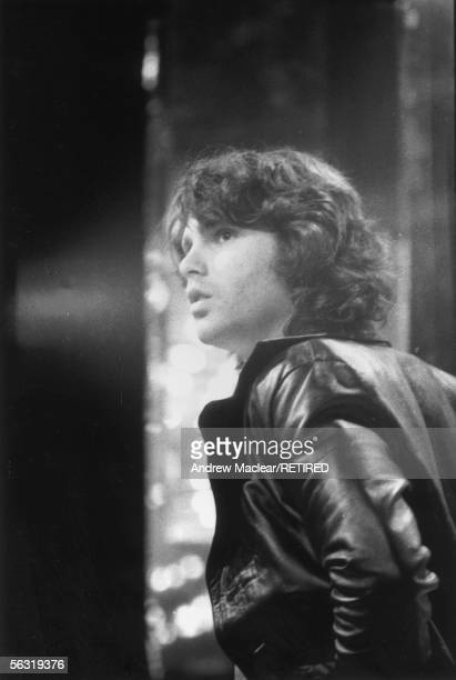 Doors singer Jim Morrison making a television appearance in Britain circa 1970