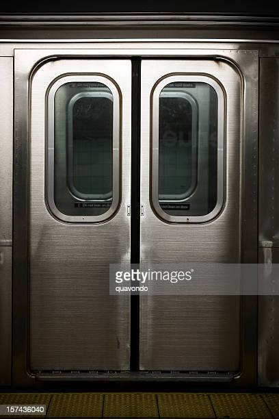 doors to a subway train in new york, nobody - vehicle door stock pictures, royalty-free photos & images