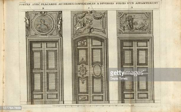 Doors with cupboards above suitable for various rooms of an apartment, Different doors, tab. 134, after p. 338, Augustin-Charles d'Aviler, Vignola,...
