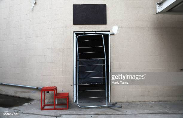 A doorway is blocked with a makeshift grate at the Olympic Aquatics stadium at the Olympic Park on March 18 2017 in Rio de Janeiro Brazil Seven...