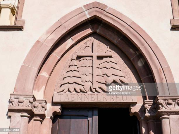 Doorway of Chapel outside Dieffenthal. Images taken in the Alsace Region of France between Chatenois and Andlau