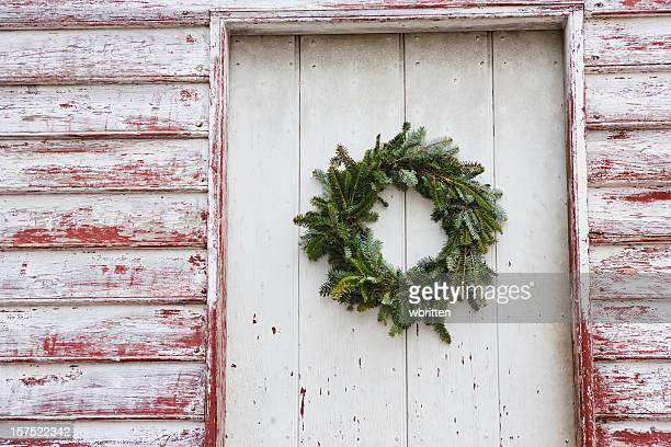 Doorway with Christmas wreath