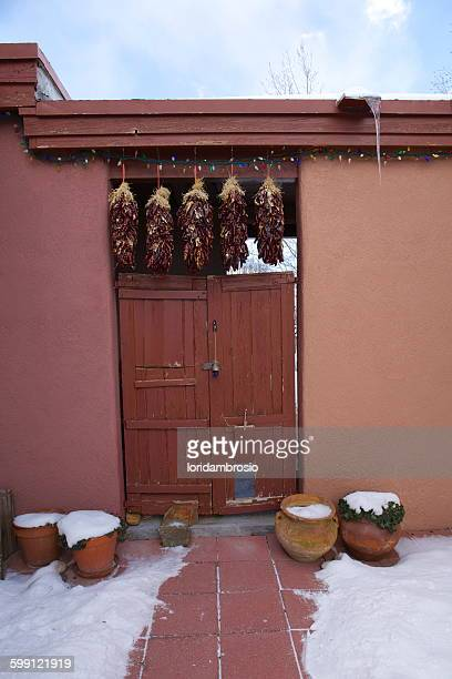 Doorway with ristras hanging/winter time