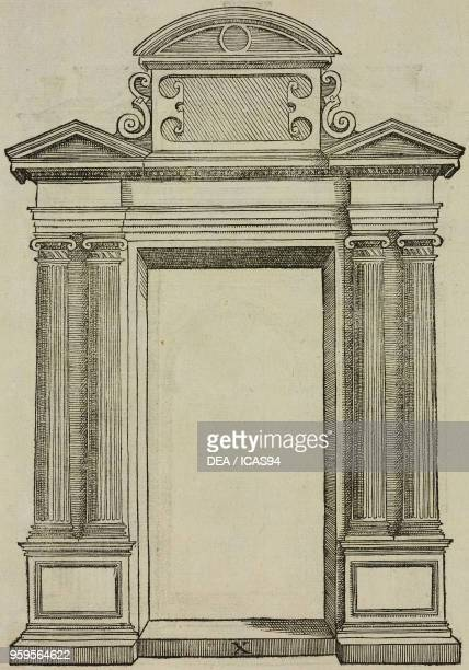 Doorway with two gables and four Ionic columns engraving from Sebastiani Serlii Bononiensis De Architectura libri quinque published by Francesco de...